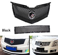 Black Front Top Grill + Bottom Grille Grid Modified For Cadillac SRX 2010-15