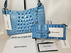 ❤️ BRAHMIN CERULEAN ANYTIME MINI BAG + CREDIT CARD WALLET 2 PC SET  BLUE  NWT ❤️