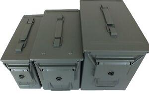 Brand New Metal Ammo Box Storage Tin Army Ammunition Tool Box Green Waterproof
