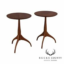 Shaker Workshops Custom Crafted Pair Solid Cherry Round Side Tables