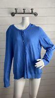 Calvin Klein Crewneck Button Front Cardigan Sweater Blue Women's Size L
