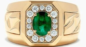 Natural Emerald Gemstone with Gold Plated 925 Sterling Silver Men's Ring #771