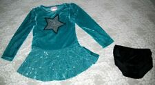 Dance Ice Skating Dress Velour Silver Sequins 2-piece Size Child 6