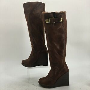 Michael Kors Calista Wedge Tall Boots Womens 8 Brown Faux Fur Lined Knee High