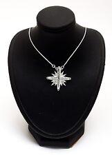 Jerusalem Cross opens Pendant With Swarovski Gemstone 925 Sterling Silver