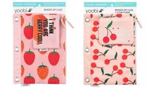 2 set Yoobi Binder Zip Pencil Case Set, Strawberries and  Cherries PINK 2 set !!