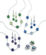 Avon Harbor Lights Necklace Earrings Gift Set Pierced Silver Purple Blue BNIB