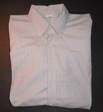 BROOKS BROTHERS Button Front Windowpane Shirt, Lavender Stripes, Size 17 35