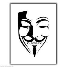 Máscara de Guy Fawkes Anarquismo Anarquía desobedecer Cartel Placa cartel impresión de pared de metal