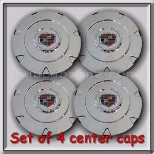 """Set 4 Chrome Cadillac Escalade 18"""" Wheel Center Caps 2007-2012 Replica Hubcaps"""