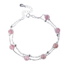 White Gold Plated Natural Pink Strawberry Crystal Chain Bracelet Bangle Jewelry