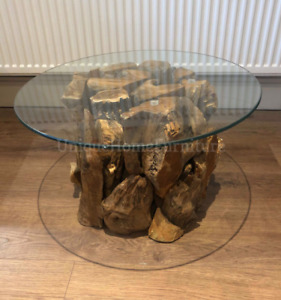 Teak Root Coffee Table Rustic Solid Wood Vintage Side End Furniture Round Glass