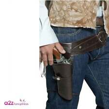 Mens Authentic Western Wandering Gunman Cowboy Belt & Holster Adult Fancy Dress
