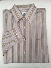 Lacoste men's multi color long sleeve stripe shirt  SIZE Eur 44 / U.S XLarge