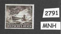 MNH stamp / 1943 /  PF03 + PF02 / Military Submarine U-Boat  / WWII German Navy