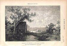 Le Moulin de Simoneau à Pont-Aven Finistère Tableau de Grandsire GRAVURE 1878
