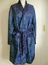 Vintage 1960s Gents Sammy Tricel smoking jacket dressing gown blue paisley S