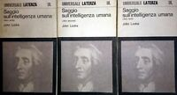 JOHN LOCKE SAGGIO SULL'INTELLIGENZA UMANA LATERZA 1972 3 VOL.UMI INT C. A. VIANO