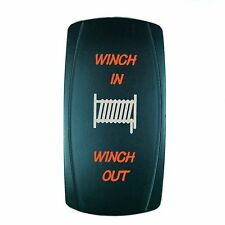 Laser  Rocker Switch MOMENTARY Push Button ORANGE LED WINCH IN/OUT (ON)-OFF-(ON)