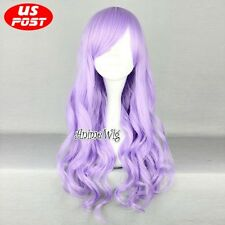 Lolita Light Purple Long Curly Party Cosplay Hair Wig Heat Resistant Synthetic