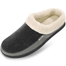 Men's Memory Foam Comfortable Slippers Wool-Like Lining House Shoes Anti-Skid