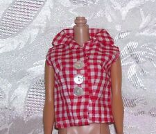 Vintage FACTORY MADE RED CHECKERED BLOUSE FITS BARBIE AND 11 AND 1/2 INCH DOLLS