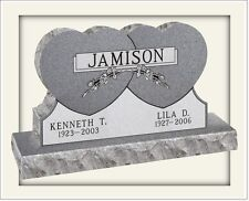 "Cemetery headstone monument, 100% granite, gray, ""Connected Hearts"" design"