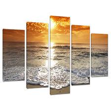 Conjunto de cinco Orange Sunset Beach Lona Impresiones Artísticas Cuadros Dormitorio 5152