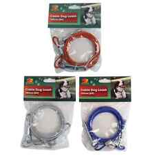 1.8m 6 Ft Dog Tie Out Lead Cable Tether Clip Fast Post!