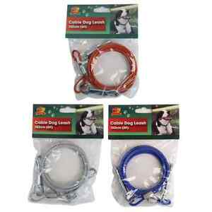 1.8m 6Ft Dog Pet Secure Cable Lead Leash Cable Tether Clip Fast Post!