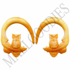 0684 Spiral Owl Taper Expander Stretcher Plugs Hoops 6G 4mm L Brown Beige Blonde