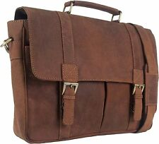 "UNICORN Real Leather 16.4"" laptop Netbook Bag Messenger Briefcase Cognac Tan #3J"