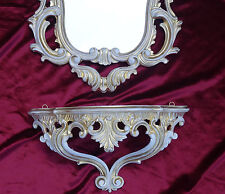 Miroir mural + DEPOSE Console Set Miroir 50X76 ANTIQUE BAROQUE OR BLANC 118S