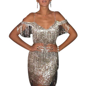 Womesn Sequin Glitter Dress Tassel Formal Evening Prom Party Cocktail Ball Gown