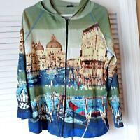 New Full Zippered Hooded Light Weight Jacket W/Graphics- Venice Italy Women  XL