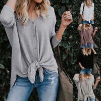 Women Loose Knit Tunic Blouse Tie Knot Henley Tops Bat Wing Plain Shirts Sweater