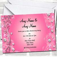 Pretty Pink Diamond Wedding Anniversary Party Invitations