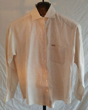 Faconnable White Brown & Yellow Striped Blouse Shirt Misses Size Small