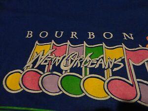 Vintage 1980's NEW ORLEANS Bourbon Street JAZZ Puff Print Blue T Shirt sz Medium