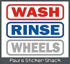 Car Detailing - WASH - RINSE - WHEELS Vinyl Bucket Stickers - Valet - Polish 180