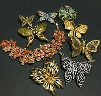 Vintage All Signed TRIFARI MONET Butterfly Brooch Bracelet LOT Rhinestone MM31T