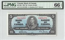 Canada 1937 BC-23b PMG Gem UNC 66 EPQ 5 Dollars (Gordon-Towers)