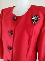 VNTG.~LILY & TAYLOR COUTURE~Woman Size 14~Red Party Holiday Christmas Blazer NWT