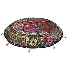 Handmade Cotton Ottoman Pouf Cover Patchwork Embroidered Floor Cushion Cover