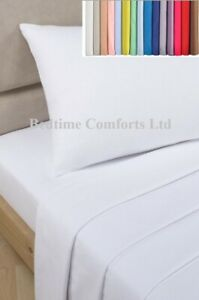 """KING SIZE FLAT SHEET (Hotel Quality) 5' Bed  (100"""" X 108"""")  20 COLOURS 200TC"""