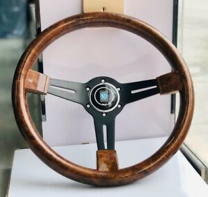 14Inch ND Brown ABS Steering Wheel Black Spoke Universal Racing Steering Wheel
