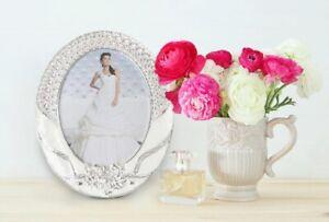 Edel Rosen Blüten Bilderrahmen in Silber, Weiß   Oval   Foto 20x25 cm   Blumen
