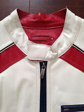 BNWT WILSONS LEATHER (*RARE) MEN'S White Red & Blue Solid Leather Biker Jacket L