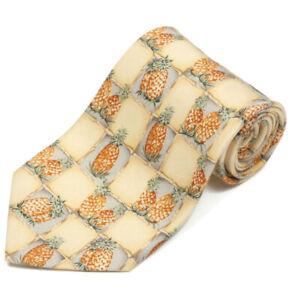 TOMMY BAHAMA Pineapple Checkerboard Yellow Hawaiian Tropic Men's Silk Neck Tie