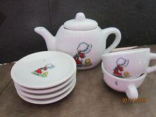 8 porcelain childrens teapot tea set pieces Dollhouse Toys Vintage Girl & Dog